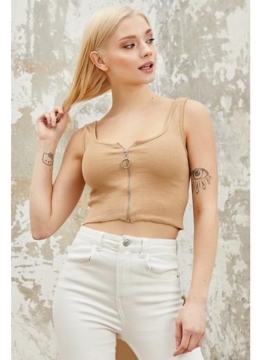 Reyon REYON Kadın Askılı Fermuarlı Crop Bluz Taş Taş
